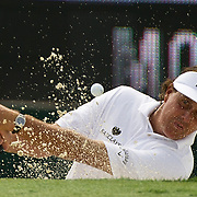 August 23, 2013:  Phil Mickelson (USA) hits the ball out of a sandtrap on the 18th hole during the continuation of the first round of The Barclays Fed Ex  Championship at Liberty National Golf Course in Jersey City, NJ.  Kostas Lymperopoulos/csm  (Credit Image: © Kostas Lymperopoulos/Cal Sport Media)