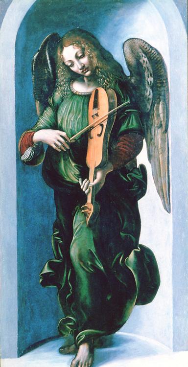 Angel in green  playing a lute. School of Leonardo da Vinci, c1490. Oil on wood.
