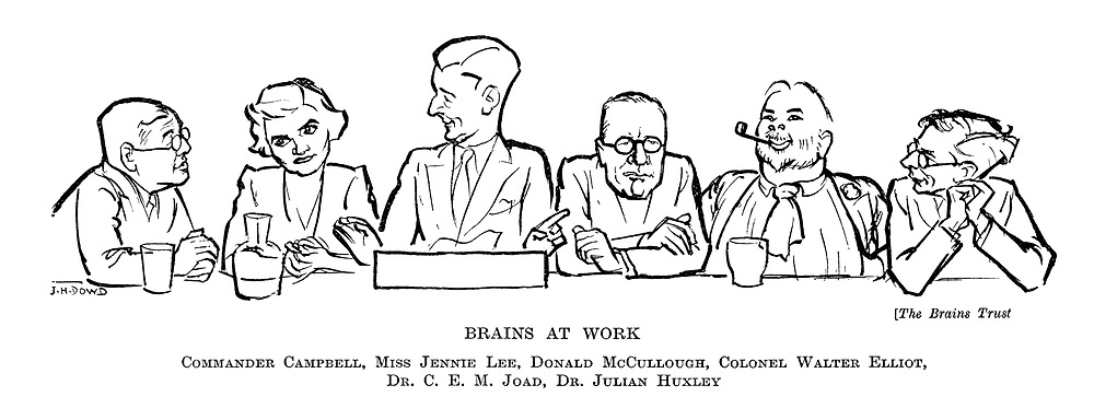 The Brains Trust: Brains at Work. Commander Campbell, Miss Jennie Lee, Donald McCullough, Colonel Walter Elliot, Dr CEM Joad, Dr Julian Huxley