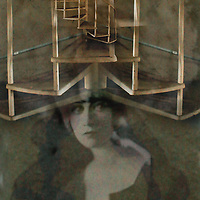 Conceptual image of female with spiral stairs