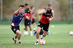 Aaron Wilbraham of Bristol City battles for the ball with Callum O'Dowda of Bristol City  - Mandatory by-line: Joe Meredith/JMP - 19/07/2016 - FOOTBALL - Bristol City pre-season training camp, La Manga, Murcia, Spain