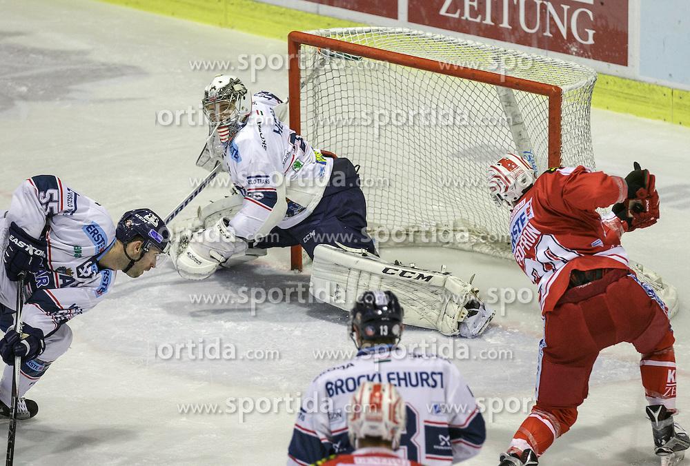 29.01.2016, Stadthalle, Klagenfurt, AUT, EBEL, EC KAC vs Fehervar AV 19, Qualifikationsrunde, 3. Runde, im Bild Andrew Sarauer (Fehervar AV 19, #55), Zoltan Hetényi (Fehervar AV 19, 29), Aaron Brocklehurst (Fehervar AV 19, #13), Isvan Sofron, (EC KAC, #20) // during the Erste Bank Eishockey League qualification round, 3rd round match betweeen EC KAC and HC Fehervar AV 19 at the City Hall in Klagenfurt, Austria on 2016/01/29. EXPA Pictures © 2016, PhotoCredit: EXPA/ Gert Steinthaler