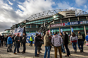 NFL fans begin to arrive outside Twickenham during the International Series match between Arizona Cardinals and Los Angeles Rams at Twickenham, Richmond, United Kingdom on 22 October 2017. Photo by Jason Brown.