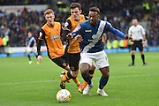 Jacques Maghoma of Birmingham city under attack from Hull City midfielder Sam Clucas and Hull City defender Andrew Robertson during the Sky Bet Championship match between Hull City and Birmingham City at the KC Stadium, Kingston upon Hull, England on 24 October 2015. Photo by Ian Lyall.