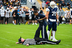 Referee and BAFA Chairman receives some medical attention during the game - Mandatory by-line: Jason Brown/JMP - 27/08/2016 - AMERICAN FOOTBALL - Sixways Stadium - Worcester, England - London Warriors v London Blitz - BAFA Britbowl Finals Day