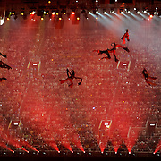 Acrobats flew on aerial wires during the Opening Ceremonies of the 2008 Summer Olympic Games in Beijing, China. (photo by David Eulitt / MCT)