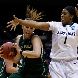 Mar 24, 2013; Baton Rouge, LA, USA; Cal Poly Mustangs guard Caroline Reeves (22) rebounds over Penn State Lady Lions forward/center Candice Agee (1) in the second half during the first round of the 2013 NCAA womens basketball tournament at the Pete Maravich Assembly Center. Penn State defeated Cal Poly 85-55. Mandatory Credit: Derick E. Hingle-USA TODAY Sports