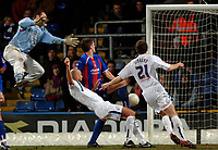 Photo: Daniel Hambury.<br />Crystal Palace v Preston North End. The FA Cup. 07/02/2006.<br />Preston's Daniel Dichio (2n left) gets something on the ball to force it into the net for the winning goal.