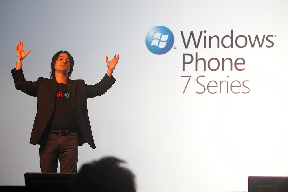 February 15th, 2010.  The World Mobile Congress  (15-18th 2010). Microsoft has filed today, 15 February its new version of mobile operating system called Windows Mobile 7.  Joel Belfiore, vicepresident of Windows Mobile, introduces the new operative system..The MWC meets for four days the best companies of mobile telephony. All brands will set out their latest developments in mobile technology. FOTO: TONI VILCHES.