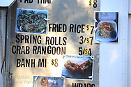 Menu on side of food truck in Jefferson Barracks Park during one of the many Food Truck Fest events sponsored by St. Louis County Parks throughout summer; St. Louis, MO