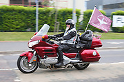 Rolling thunder arrive during the Soldier F Protest at Media City, Salford, United Kingdom on 18 May 2019.