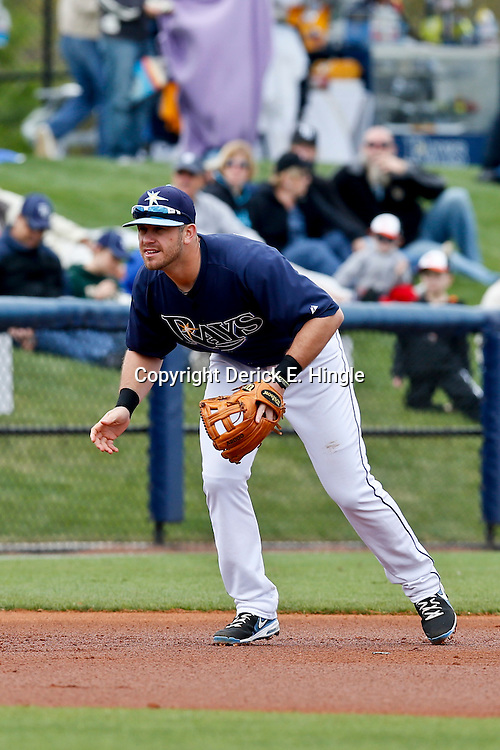 Mar 2, 2013; Port Charlotte, FL, USA; Tampa Bay Rays third baseman Evan Longoria (3) during a spring training game against the Baltimore Orioles at Charlotte Sports Park. Mandatory Credit: Derick E. Hingle-USA TODAY Sports