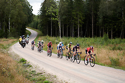Leaders cross the third gravel sector during Postnord UCI WWT Vårgårda WestSweden Road Race, a 145.3 km road race in Vårgårda, Sweden on August 18, 2019. Photo by Sean Robinson/velofocus.com