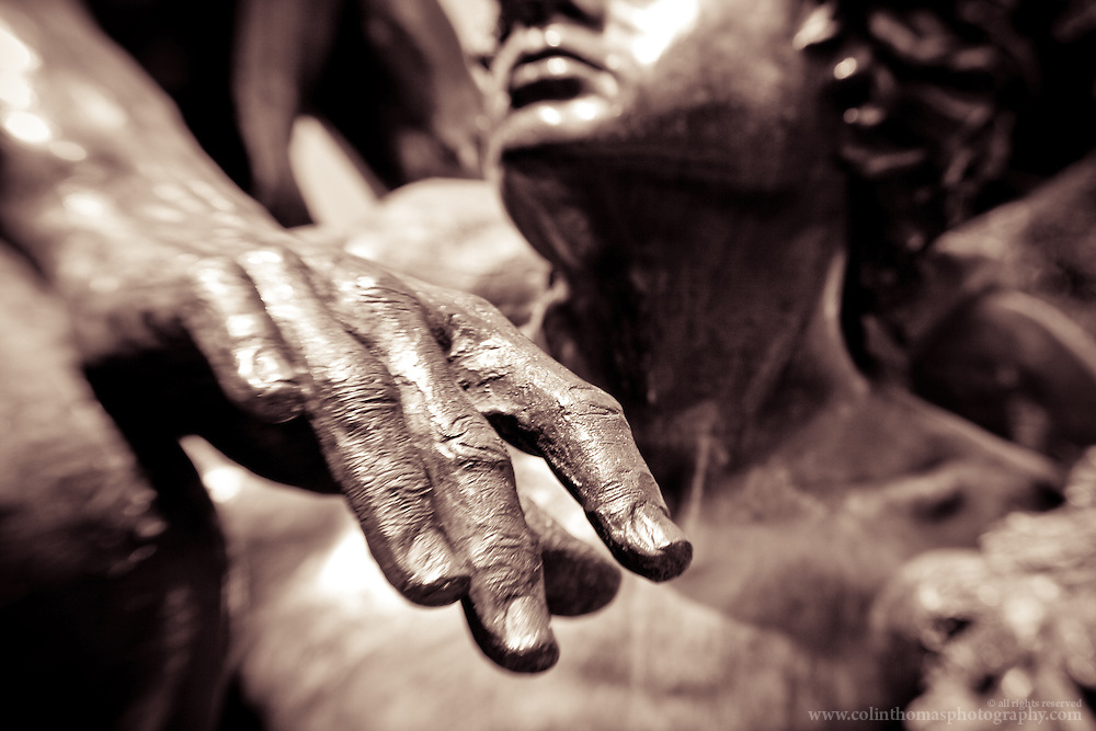Detail of the hand of the Homer statue on the Lawn at the University of Virginia in Charlottesville, Va.
