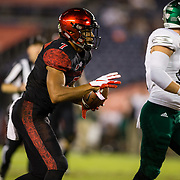 22 September 2018: San Diego State Aztecs wide receiver Fred Trevillion (7) signals first down after making a reception in the first half. The San Diego State Aztecs beat the Eastern Michigan Eagles 23-20 in over time at SDCCU Stadium in San Diego, California.