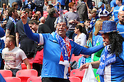 Glossop fan during the FA Vase Final between Glossop North End and North Shields at Wembley Stadium, London, England on 9 May 2015. Photo by Phil Duncan.