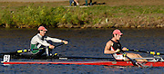 Boston, Massachusetts,  Championships Men's Single, [left] ARG M1X Santiago FERNANDO, moving past USA M1X, James DIETZ II,  passing  the Newell Boathouse, Harvard University,  during his race in the  Forty second Head of the Charles, 21/10/2006.  Photo  Peter Spurrier/Intersport Images...[Mandatory Credit, Peter Spurier/ Intersport Images] Rowing Course; Charles River. Boston. USA