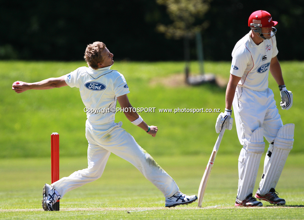 Neil Wagner bowling with Canterbury batsmen Peter Fulton during play on the first day of the first game of the season. Canterbury Wizards v Otago Volts, Plunket Shield Game held at Mainpower Oval, Rangiora, Monday 07 November 2011. Photo : Joseph Johnson / photosport.co.nz