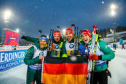March 16, 2019 - –Stersund, Sweden - 190316 Erik Lesser, Roman Rees, Arnd Peiffer and Benedikt Doll of Germany celebrate after  the Men's 4x7,5 km Relay during the IBU World Championships Biathlon on March 16, 2019 in Östersund..Photo: Johan Axelsson / BILDBYRÃ…N / Cop 245 (Credit Image: © Johan Axelsson/Bildbyran via ZUMA Press)