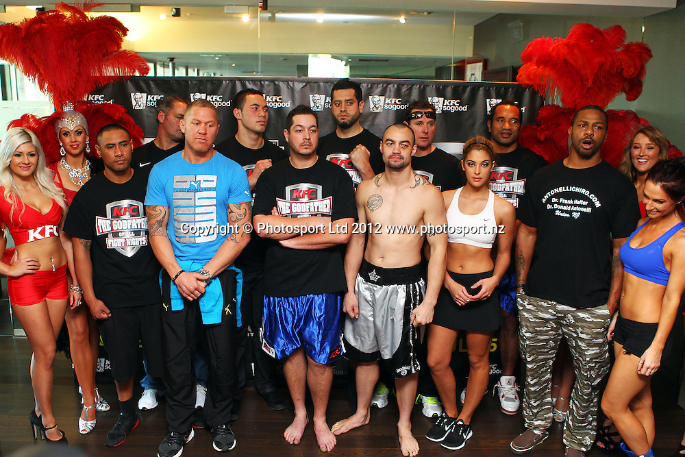 Fighters grouped together, KFC Godfather of All Fight Nights Weigh In ahead of Thursdays fight night, The Nations Clubrooms bar, Sky City, Auckland. 4 July 2012. Photo: William Booth/photosport.co.nz