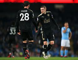 Jamie Vardy of Leicester City talks with Christian Fuchs - Mandatory by-line: Matt McNulty/JMP - 10/02/2018 - FOOTBALL - Etihad Stadium - Manchester, England - Manchester City v Leicester City - Premier League