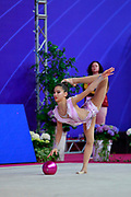 Zhao Yating during the qualifiction ball at World Cup Pesaro 2018. Zhao Yating was born in may 12, 2001 in Shanxi, she is a Chinese individual rhythmic gymnast.
