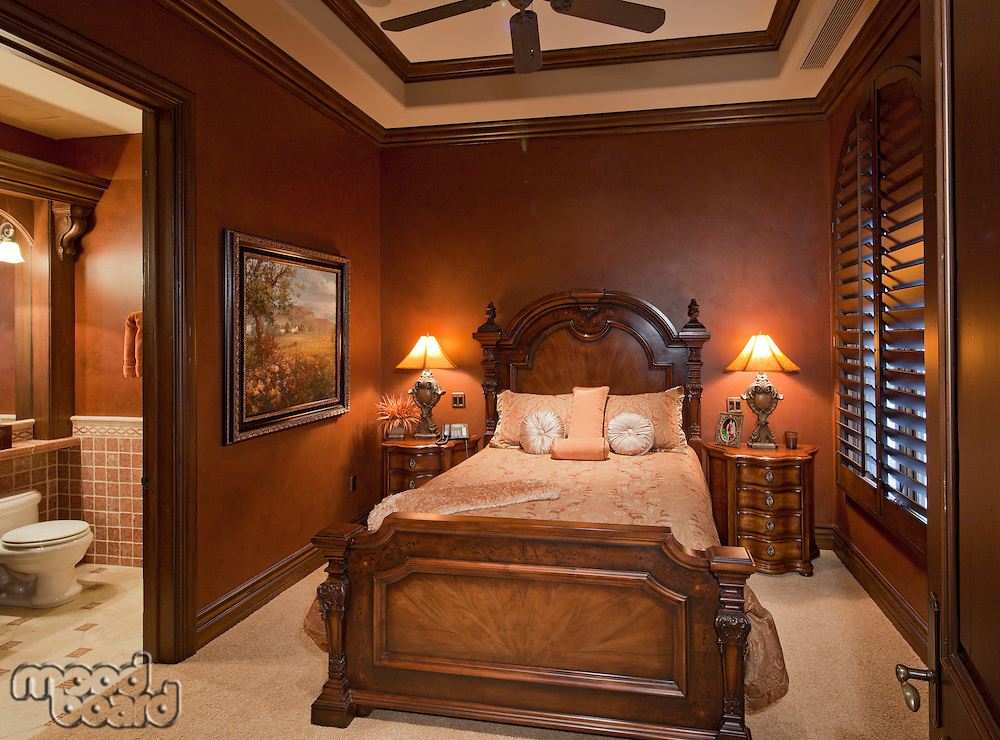 Master bedroom interior of manor house