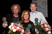 Uitreiking van de Annie  M.G. Schmidtprijs 2012 in het Amsterdamse Theater Bellevue.<br /> <br /> Op de foto:  Jan Beuving, Nico Brandsen en Angela Groothuizen winnaars Annie M.G. Schmidtprijs 2012