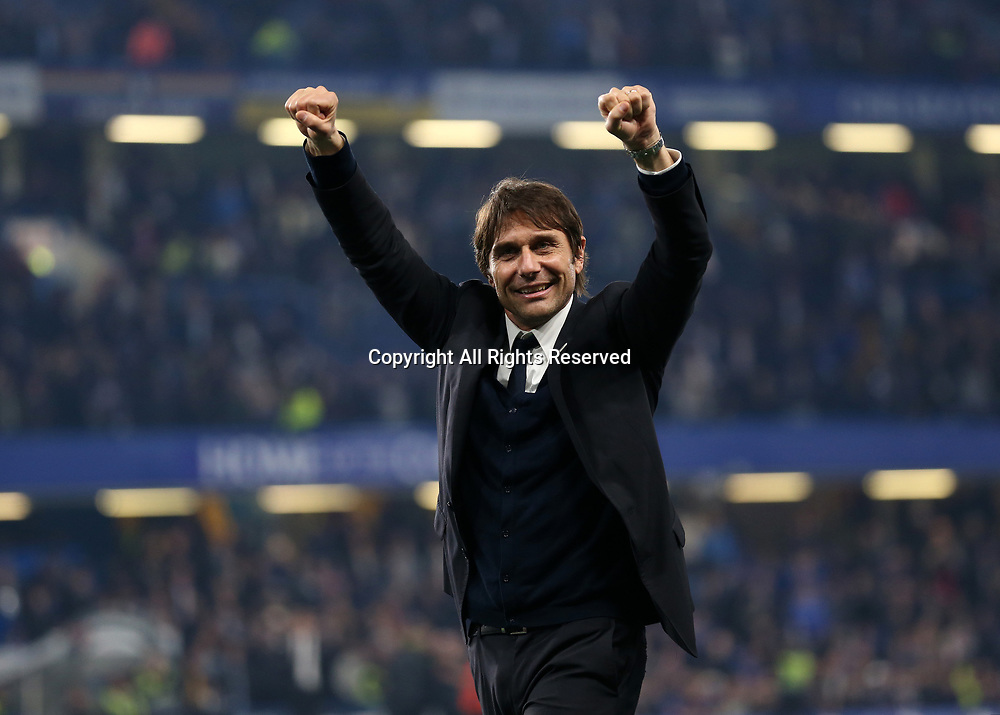 May 15th 2017, Stamford Bridge, London, England; EPL Premier League football, Chelsea FC versus Watford; Chelsea Manager Antonio Conte celebrates towards the Chelsea fans with his players after full time as Chelsea are 2016/17 Premier League Champions