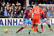 Shrewsbury Town forward Stefan Payne (45) plays a pass  during the EFL Sky Bet League 1 match between Scunthorpe United and Shrewsbury Town at Glanford Park, Scunthorpe, England on 17 March 2018. Picture by Mick Atkins.