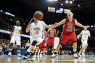 13 March 2010:   Toledo's Naama Shafir (4) and Ball State's Amber Crago (40) during the MAC Tournament game basketball game between Ball State and Toledo and  at Quicken Loans Arena in Cleveland, Ohio.