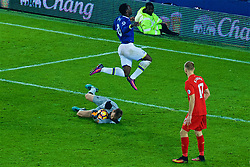 LIVERPOOL, ENGLAND - Monday, December 19, 2016: Liverpool's goalkeeper Simon Mignolet in action against Everton's Romelu Lukaku during the FA Premier League match, the 227th Merseyside Derby, at Goodison Park. (Pic by Gavin Trafford/Propaganda)