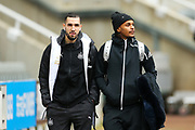 New Newcastle United signings Nabil Bentaleb (#42) of Newcastle United (left) and Valentino Lazaro (#23) (right) of Newcastle United arrive ahead of the The FA Cup match between Newcastle United and Oxford United at St. James's Park, Newcastle, England on 25 January 2020.