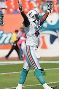 MIAMI - NOVEMBER 6:  Wide receiver Chris Chambers #84 of the Miami Dolphins raises his hands to the fans during pregame introductions for the Dolphins game against the Atlanta Falcons on November 6, 2005 at Dolphins Stadium in Miami, Florida. The Falcons defeated the Dolphins 17-10. ©Paul Anthony Spinelli *** Local Caption *** Chris Chambers