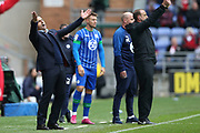 Nottingham Forest Manager Sabri Lamouchi  shows his frustration during the EFL Sky Bet Championship match between Wigan Athletic and Nottingham Forest at the DW Stadium, Wigan, England on 20 October 2019.