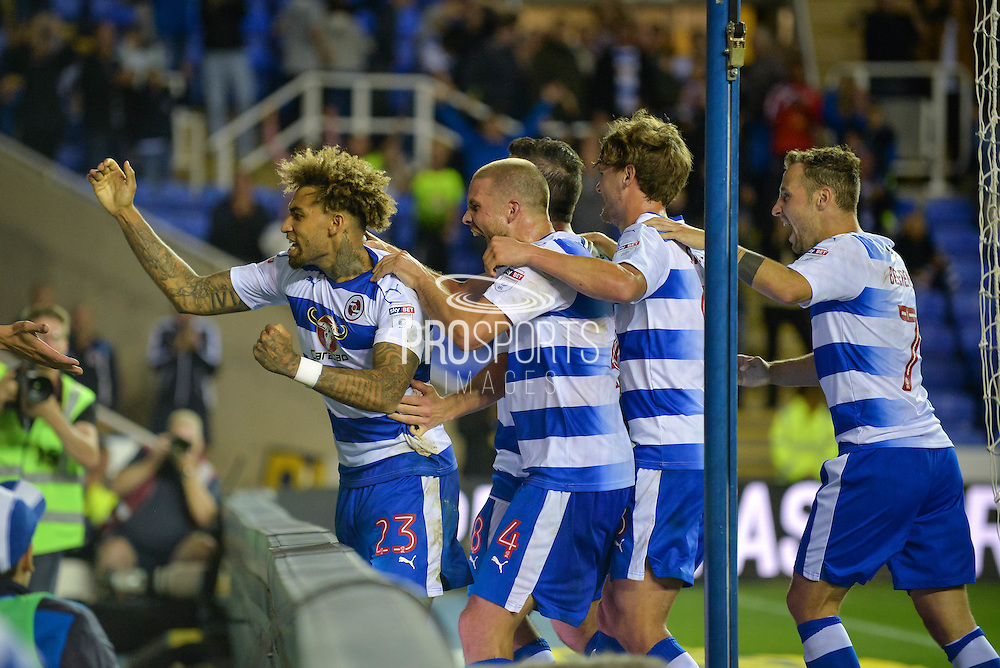 Reading Players Celebrate after Reading Midfielder, Danny Williams (23) scores a late penalty to make it 2-1 during the EFL Sky Bet Championship match between Reading and Ipswich Town at the Madejski Stadium, Reading, England on 9 September 2016. Photo by Adam Rivers.