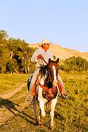 Henry Real Bird, Crow Indian, riding horseback, Crow Indian Reservation, Montana