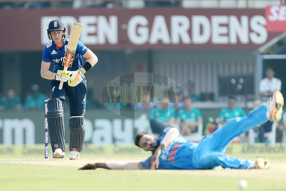 Sam Billings of England drives for four during the third One Day International (ODI) between India and England  held at Eden Gardens in Kolkata on the 22nd January 2017<br /> <br /> Photo by: Ron Gaunt/ BCCI/ SPORTZPICS