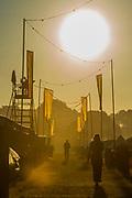 Sunrise over the campsite - The 2018 Latitude Festival, Henham Park. Suffolk 14 July 2018