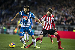 January 14, 2018 - Barcelona, Catalonia, Spain - Marc Navarro from Spain of RCD Espanyol defended by 03 Enric Saborit from Spain of Athletic Club de Bilbao during La Liga match between RCD Espanyol v Athletic Club de Bilbao at RCD Stadium in Barcelona on 14 of January, 2018. (Credit Image: © Xavier Bonilla/NurPhoto via ZUMA Press)
