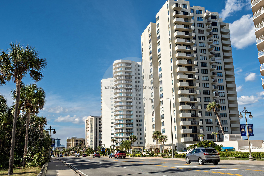 A wall of condominiums along the Atlantic beach front in Daytona Beach, Florida.