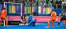 Germany are unable to stop Mink Van Der Weerden's second penalty corner shot as The Netherlands go four up. The Netherlands v Germany - Final Unibet EuroHockey Championships, Lee Valley Hockey & Tennis Centre, London, UK on 29 August 2015. Photo: Simon Parker