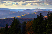 View of the Allegheny mountains from near the summit of Snowshoe mountain in West Virginia