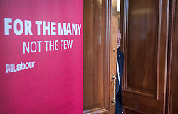 © Licensed to London News Pictures. 26/05/2017. London, UK. Labour party leader Jeremy Corbyn arrives to re-start his election campaign with a speech in Westminster. All election campaigning was stopped as a mark of respect for the victims of Monday's terror attack in Manchester in which 22 people died. Photo credit: Peter Macdiarmid/LNP