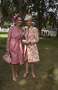 Kate Elaessens and Princess Corinna Sayn-Wittgenstein, Ascot, Tuesday 15 June 2004. ONE TIME USE ONLY - DO NOT ARCHIVE  © Copyright Photograph by Dafydd Jones 66 Stockwell Park Rd. London SW9 0DA Tel 020 7733 0108 www.dafjones.com