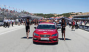 Jun 23  2018  Monterey, CA, U.S.A  SBK girls standing next safety car during the Motul FIM World Superbike Race # 1 at Weathertech Raceway Laguna Seca  Monterey, CA  Thurman James / CSM