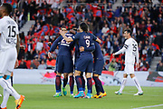 ADRIEN RABIOT (PSG) scored a goal and celebrated it with Edinson Roberto Paulo Cavani Gomez (psg) (El Matador) (El Botija) (Florestan), Angel Di Maria (psg), Giovani Lo Celso (PSG), Serge Aurier (psg), Emmanuel IMOROU (SM Caen), Julien FERET (SM Caen) during the French Championship Ligue 1 football match between Paris Saint-Germain and SM Caen on May 20, 2017 at Parc des Princes stadium in Paris, France - Photo Stephane Allaman / ProSportsImages / DPPI