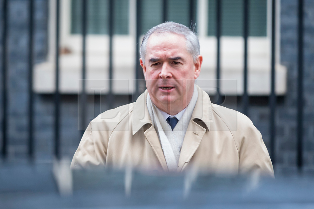 © Licensed to London News Pictures. 04/12/2018. LONDON, UK. Geoffrey Cox QC MP, Attorney General, leaves the weekly Cabinet Meeting at Number 10 Downing Street in London, Britain, on December 4, 2018.  John Bercow, Speaker of the House, has stated that the government may be in contempt of Parliament for declining to release its full legal advice on Britain's exit from the European Union.  This issue is to be debated in the House of Commons after the Cabinet Meeting and will delay the start of MP's debating Theresa May's Brexit agreement with the European Union, ahead of their vote on December 11.  Photo credit: Stephen Chung/LNP