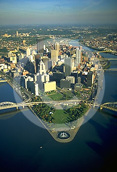 Pittsburgh, PA, Skyline, Golden Triangle Aerial Photo, Three Rivers