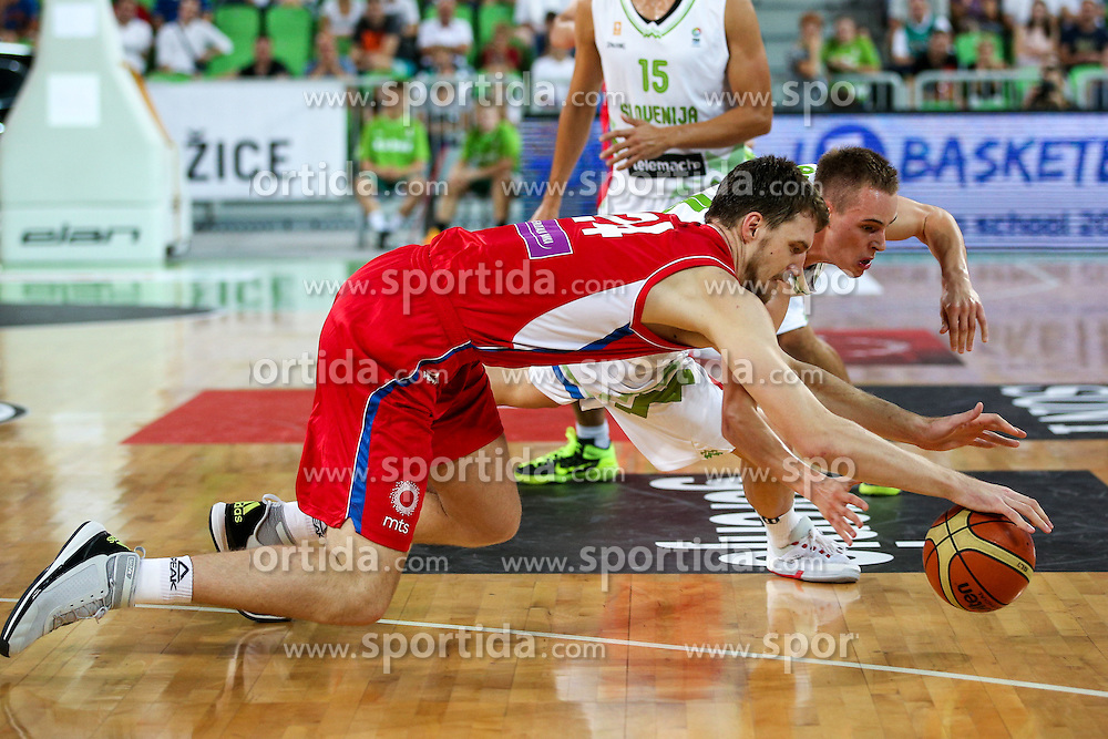 Ognjen Kuzmic of Serbia and Klemen Prepelic of Slovenia at friendly basketball match between National teams of Slovenia and Serbia, on August 27 in SRC Stozice, Ljubljana, Slovenia. Photo by Matic Klansek Velej / Sportida August 27, 2015